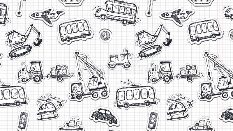Sömlös modell för roliga bilar Klottret skissar den inked illustrationen royaltyfri illustrationer
