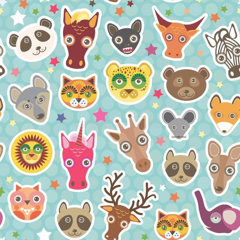 Sömlös modell för roliga djur på ljus - blå prickbakgrund lejon känguru, häst, björn, mus, tvättbjörn, hjort, uggla, jaguar, royaltyfri illustrationer