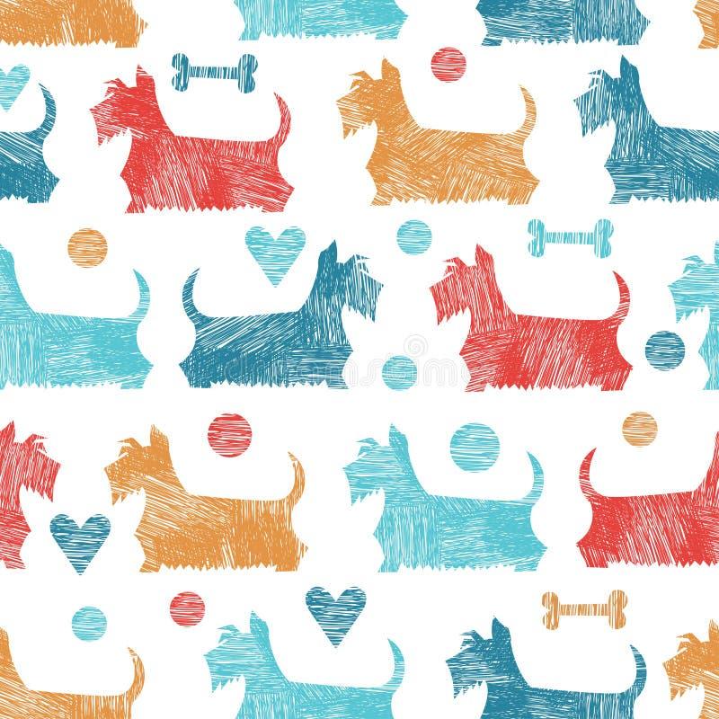 Sömlös modell för roliga terrier för vektor skotska royaltyfri illustrationer
