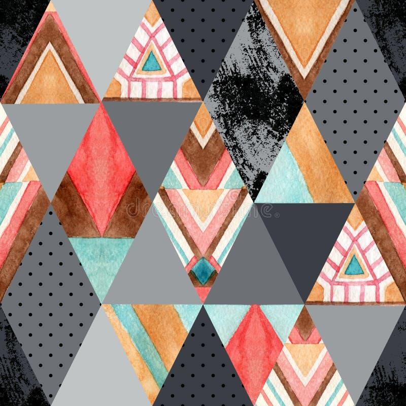 Sömlös modell för romb och för triangel royaltyfri illustrationer