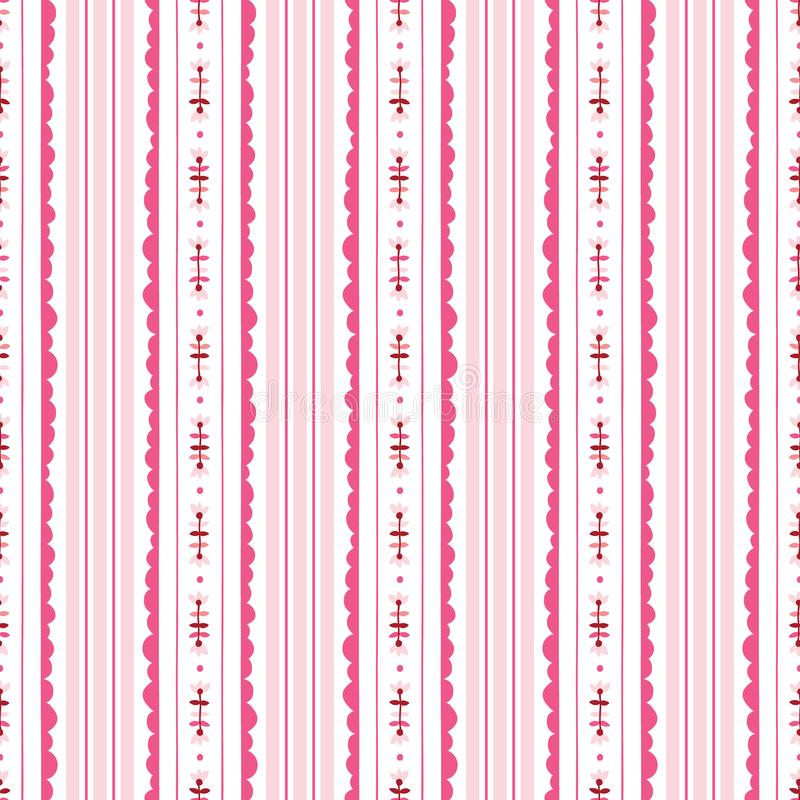 Sömlös modell för för rosa färger och vit blom- bandbakgrundsvektor Modern klassisk geometrisk modell Monokromblommor vektor illustrationer