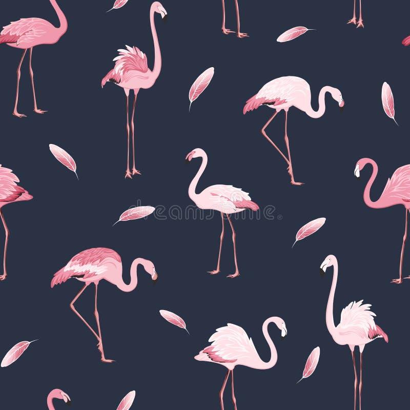 Sömlös modell för rosa fjäder för flamingofågelflock royaltyfri illustrationer