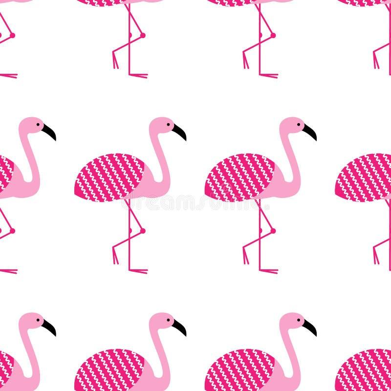 Sömlös modell för rosa flamingo på vit bakgrund Stående ställing Zoofågeln parkerar vektordesignillustration royaltyfri illustrationer