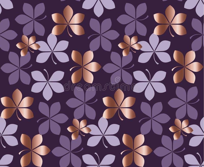 Sömlös modell för rosa guld och för purpurfärgad blom- vektor stock illustrationer