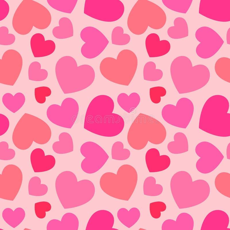 Sömlös modell för rosa hjärta stock illustrationer