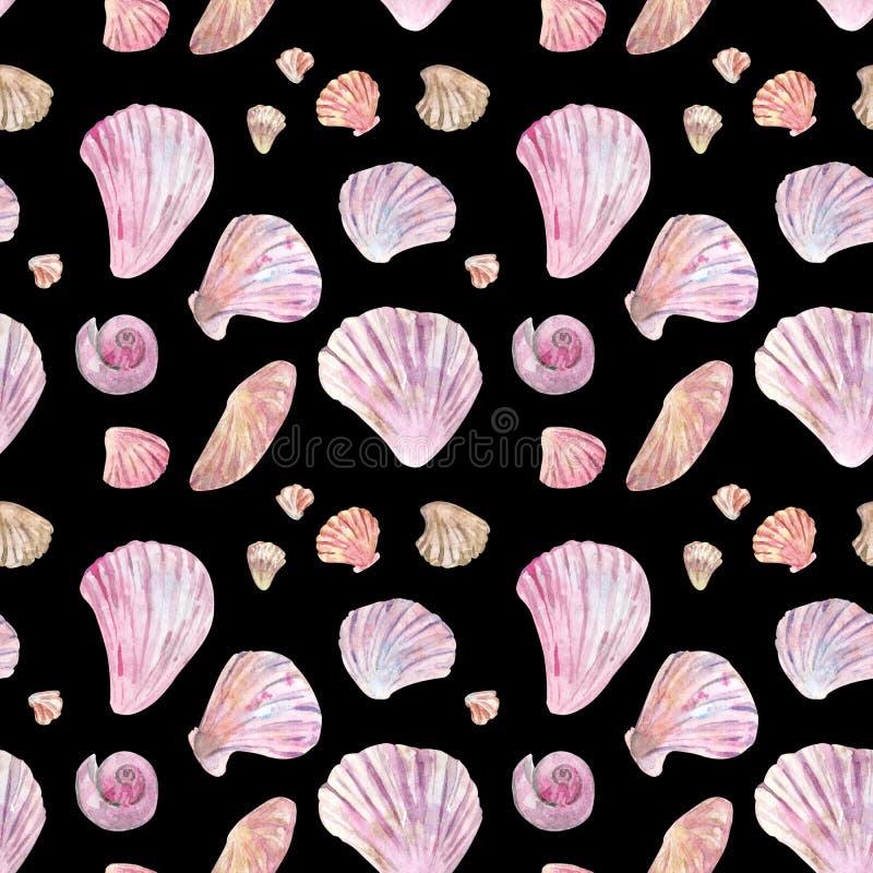 Sömlös modell för rosa skalvattenfärg på svart royaltyfri illustrationer