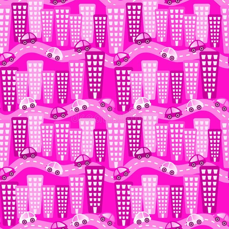 Sömlös modell för rosa stadsbilar stock illustrationer