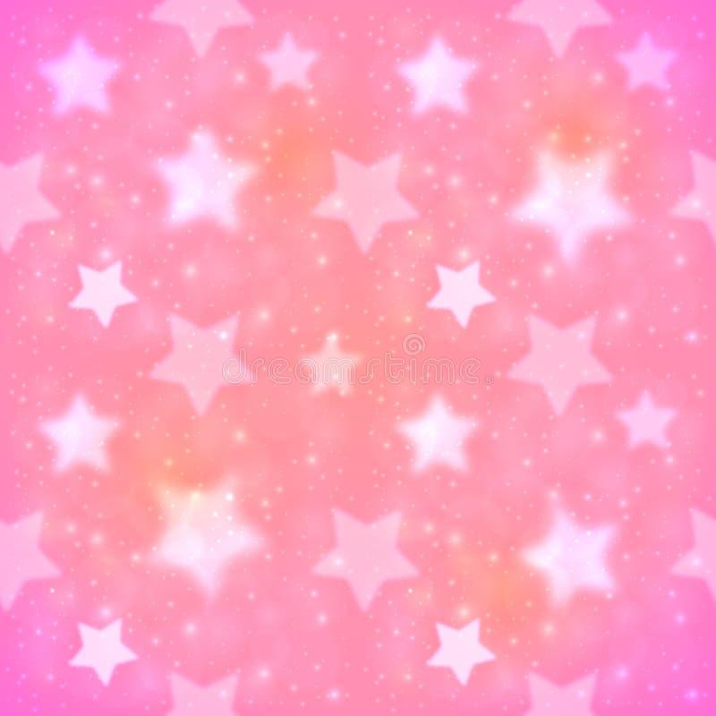 Sömlös modell för rosa suddig stjärnavektor royaltyfri illustrationer
