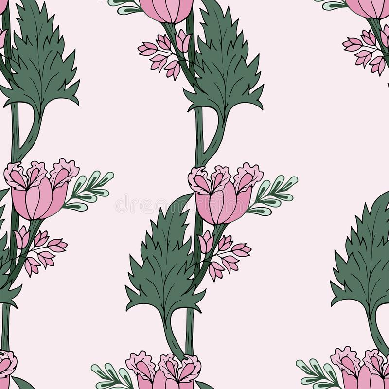Sömlös modell för rosa tulpan också vektor för coreldrawillustration royaltyfri illustrationer