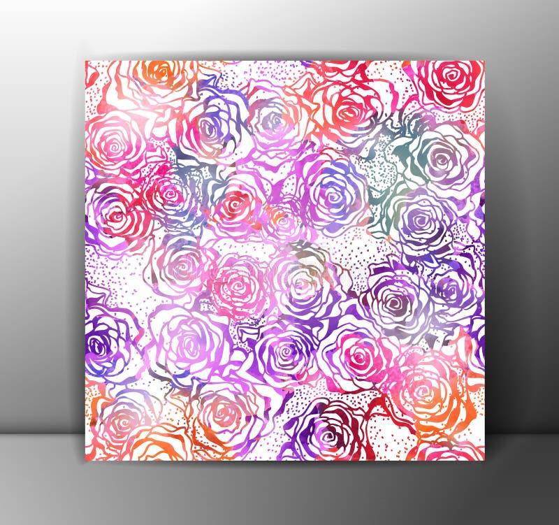 Sömlös modell för rosor som är färgrik Vektor EPS 10 stock illustrationer