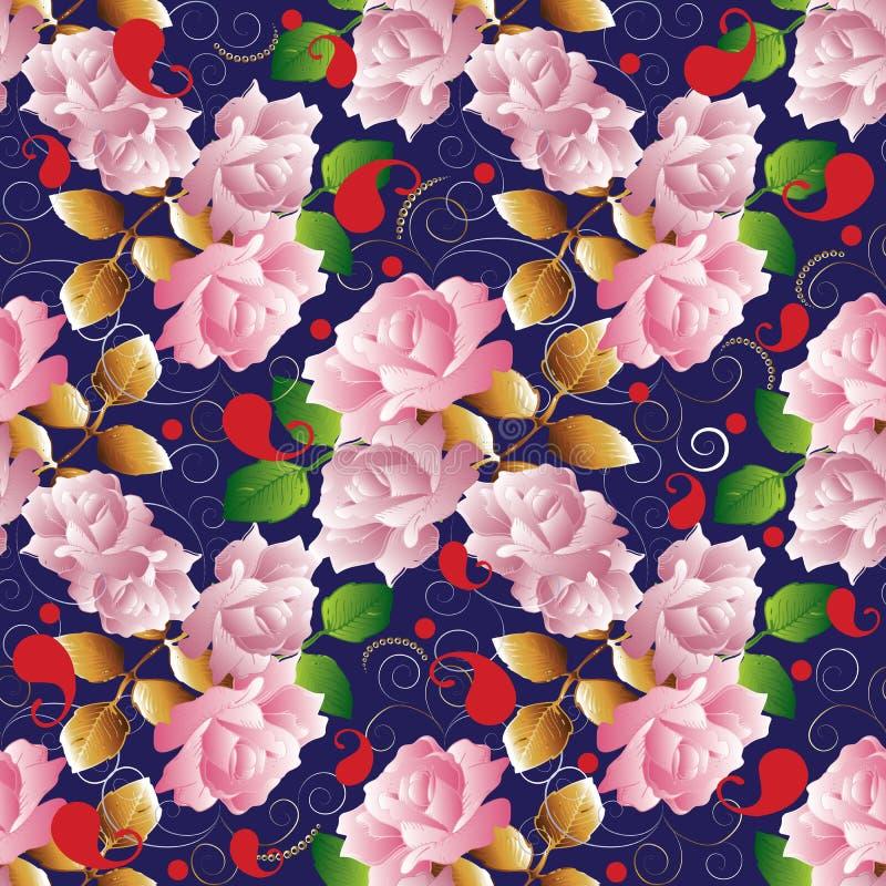 Sömlös modell för rosvektor Blom- mörker - blå tappningbackgrou vektor illustrationer