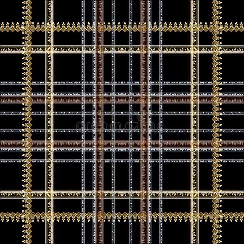 Sömlös modell för rutig randig grekisk vektor Dekorativ tartanbakgrund Repetitionplädbakgrund Prydnad f?r grektangentslingringar stock illustrationer