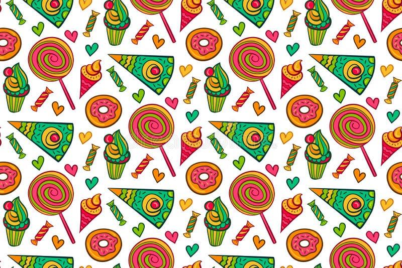 Sömlös modell för söt efterrättvektor Ändlös bakgrund med klubban, godis, glass, muffin, munk, kaka, hjärta royaltyfri illustrationer