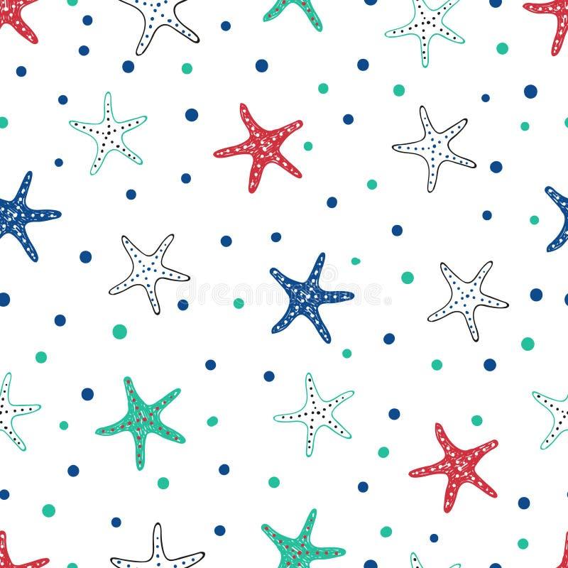 Sömlös modell för sjöstjärna stock illustrationer
