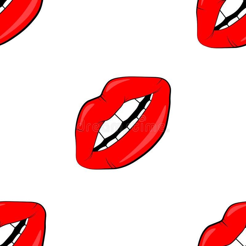 Sömlös modell för skönhetsmedel och för makeupkanter härliga kanter av kvinnan med röd läppstift och glans Sexiga kantbakgrunder royaltyfri illustrationer