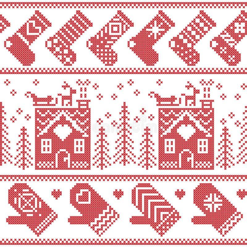Sömlös modell för skandinavisk nordisk jul med det ljust rödbrun brödhuset, strumpor, handskar, ren, snö, snöflingor, träd, Xmas royaltyfri illustrationer