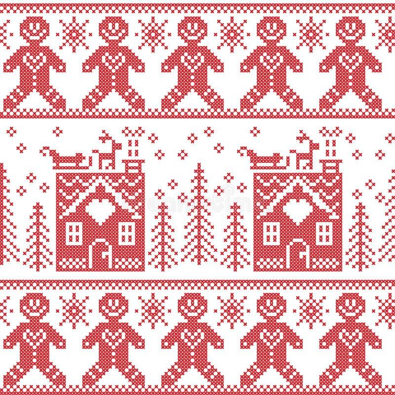 Sömlös modell för skandinavisk nordisk jul med pepparkakamannen, stjärnor, snöflingor, ljust rödbrun hus, träd, xmas-gåvor, reind royaltyfri illustrationer