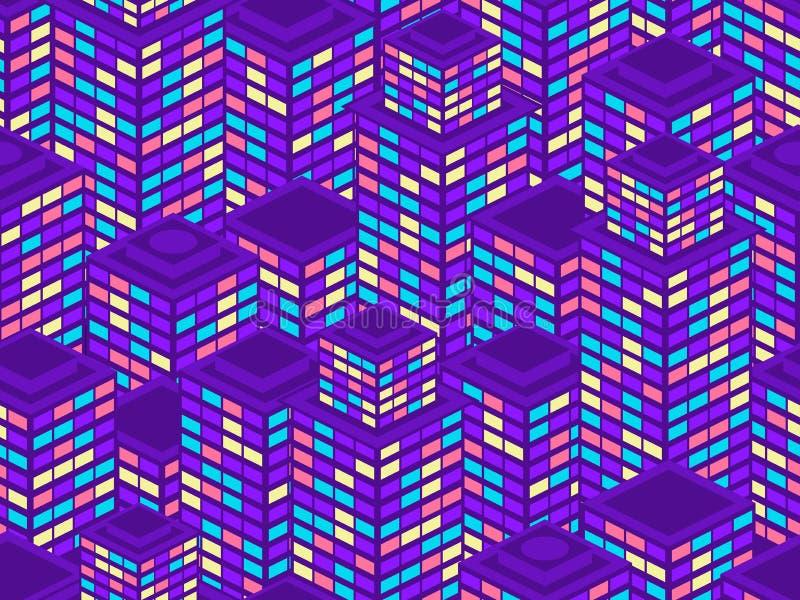 Sömlös modell för skyskrapor Isometriska stadsbyggnader, metropolis Neonfärg i stilen av 80-tal vektor vektor illustrationer