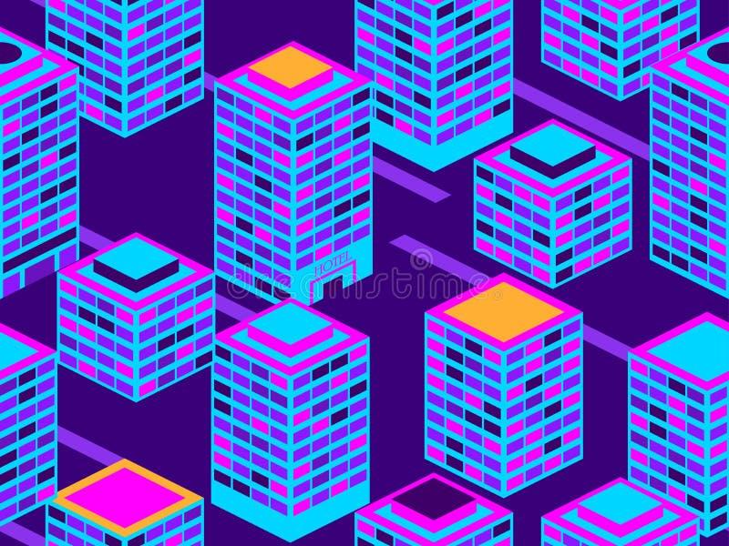 Sömlös modell för skyskrapor Isometriska stadsbyggnader, metropolis Neonfärg i stilen av 80-tal vektor royaltyfri illustrationer