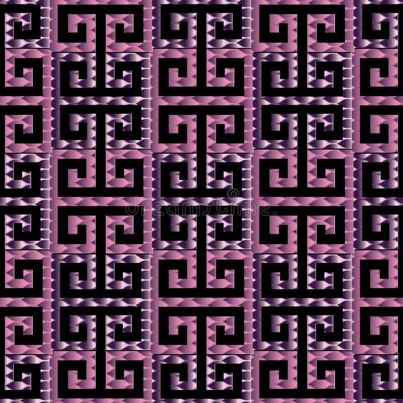 Sömlös modell för slingringargrektangent 3d Svart och violett patterne stock illustrationer