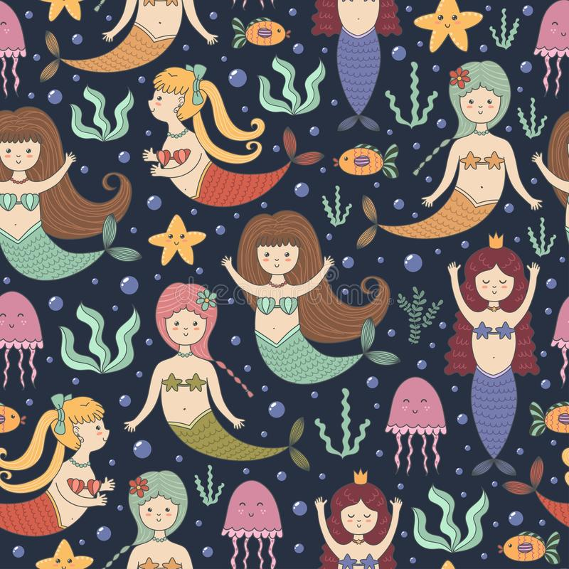 Sömlös modell för små sjöjungfruar stock illustrationer