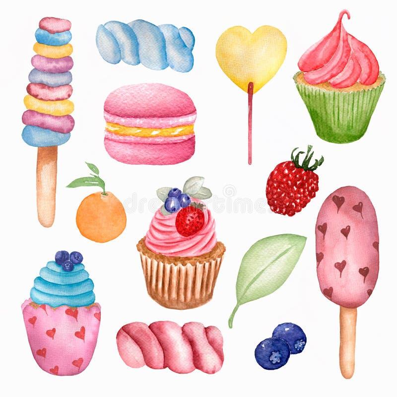 Sömlös modell för smaskig söt mat Vattenfärgillustrationklubbor, muffin, makron, bär, marshmallower, glass och apelsin royaltyfri illustrationer