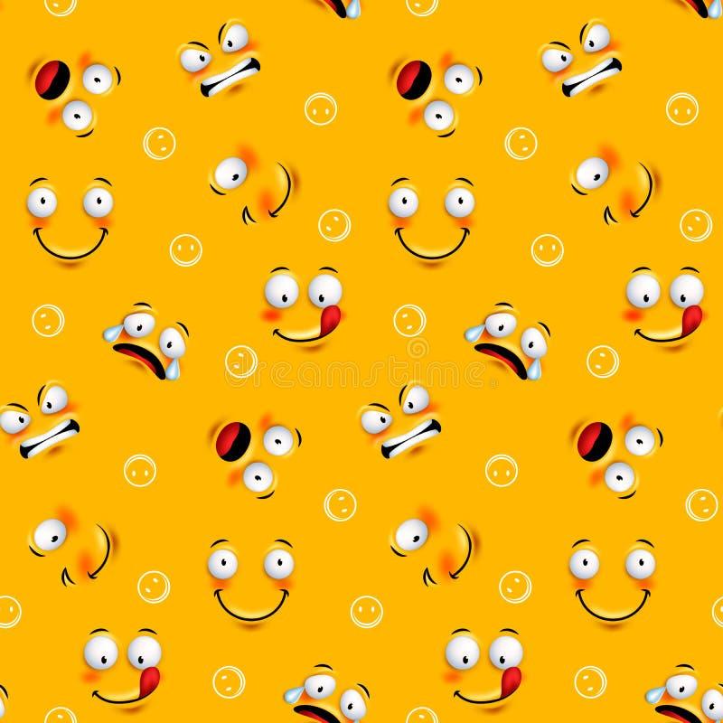 Sömlös modell för Smileyframsida med roliga ansiktsuttryck stock illustrationer