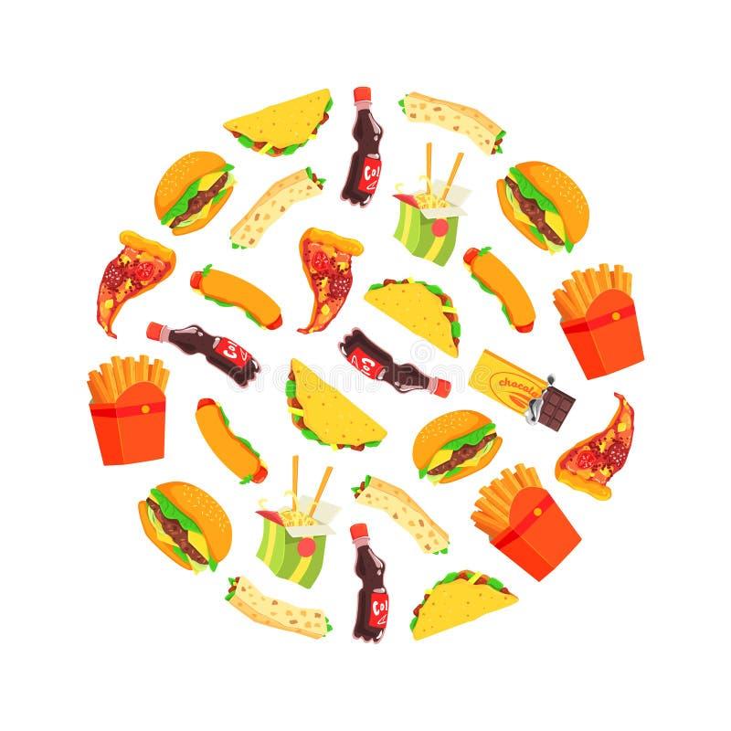 Sömlös modell för snabbmat av runda Shape, disk och drinkvektorillustrationen royaltyfri illustrationer