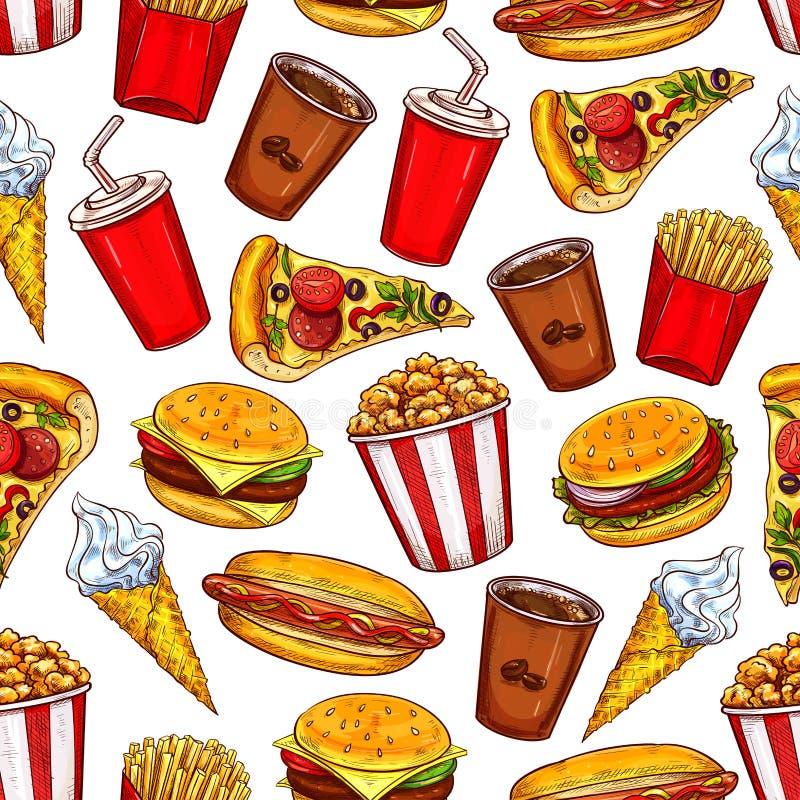 Sömlös modell för snabbmat med hamburgare och drinkar vektor illustrationer