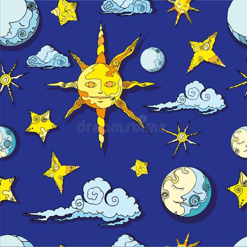 Sömlös modell för sol- och månevektor med stjärnor royaltyfri fotografi