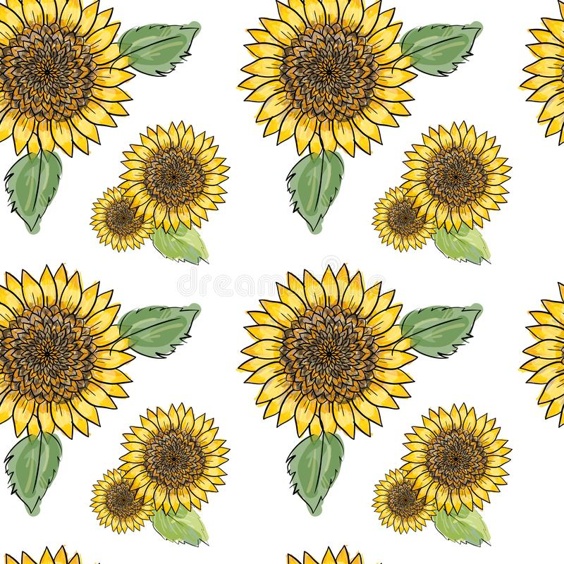 Sömlös modell för solros med gröna sidor och att imitera färgpulver och vattenfärgen på vit bakgrund Hand-drog blommahuvud stock illustrationer