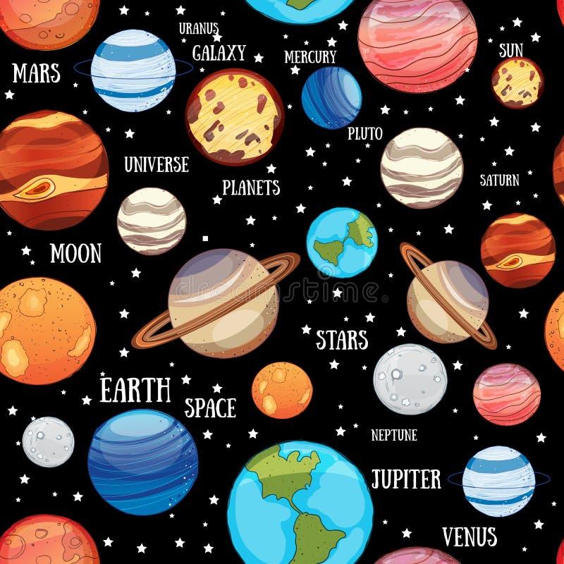 Sömlös modell för solsystemplaneter stock illustrationer