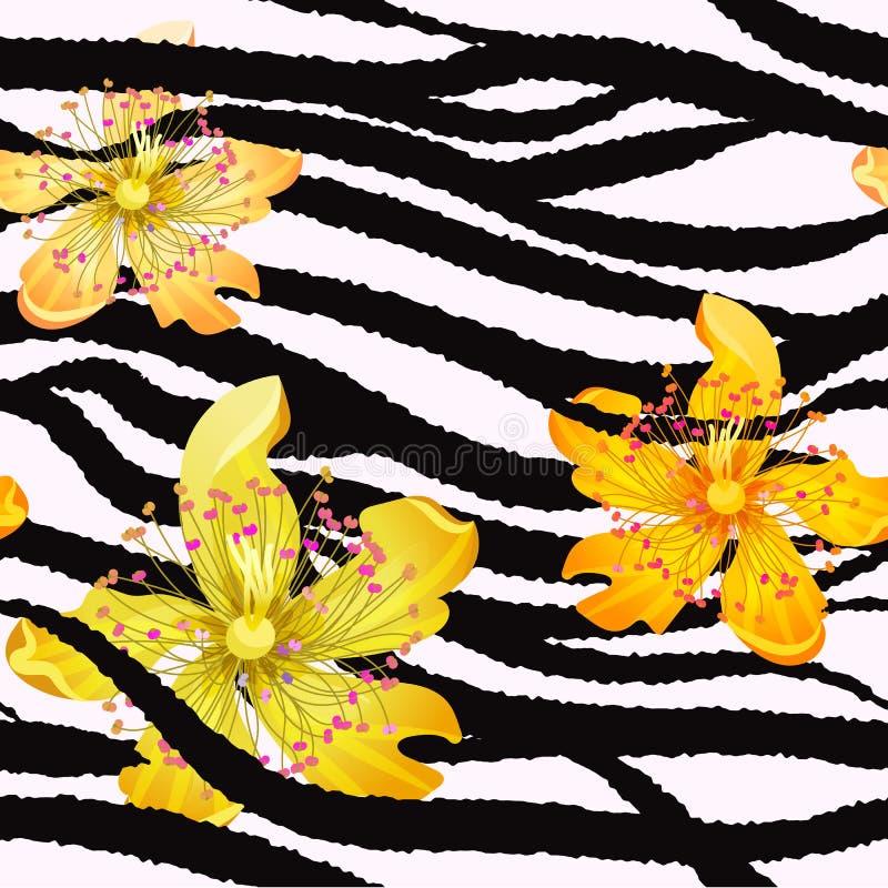 Sömlös modell för sommar/bakgrund, tropiska blommor, banansidor och sebralinjer stock illustrationer