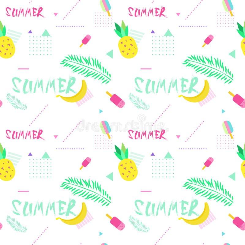 Sömlös modell för sommar med färgrik tropisk prydnadbakgrundsstil vektor illustrationer