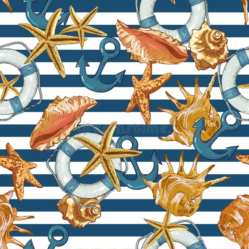 Sömlös modell för sommar med havsskal, ankare stock illustrationer