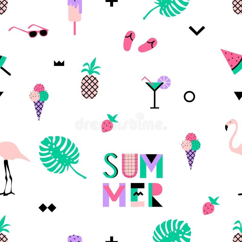 Sömlös modell för sommar med rosa flamingo, glass, jordgubbe vektor illustrationer
