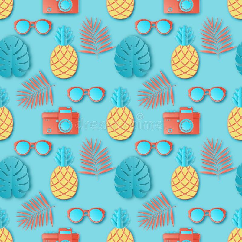 Sömlös modell för sommar med tropiska palmblad, fotokamera vektor illustrationer