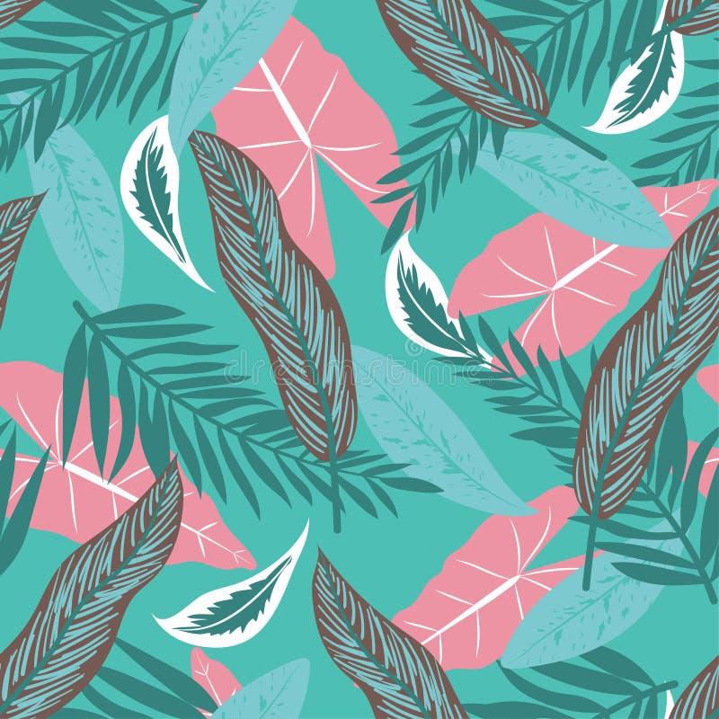 Sömlös modell för sommar med tropiska sidor på ett ljust - grön bakgrund f?r designeps f?r 10 bakgrund vektor f?r tech Djungeltry royaltyfri illustrationer