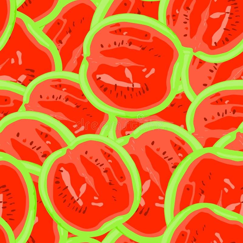 Sömlös modell för sommar som göras av röda vattenmelon vektor illustrationer