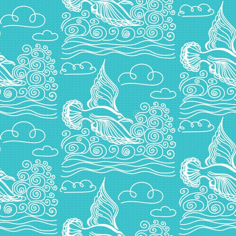 Sömlös modell för sommarhav Illustration av fågelseagullen royaltyfri illustrationer