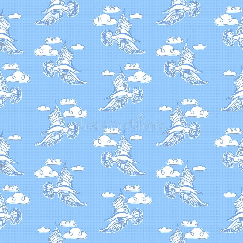 Sömlös modell för sommarhav Illustration av fågelseagullen, himmel a royaltyfri illustrationer