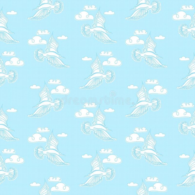 Sömlös modell för sommarhav Illustration av fågelseagullen, himmel a vektor illustrationer
