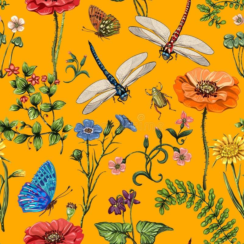 Sömlös modell för sommarvektor Botanisk tapet Växter kryp, blommor i tappning utformar Fjärilar sländor vektor illustrationer
