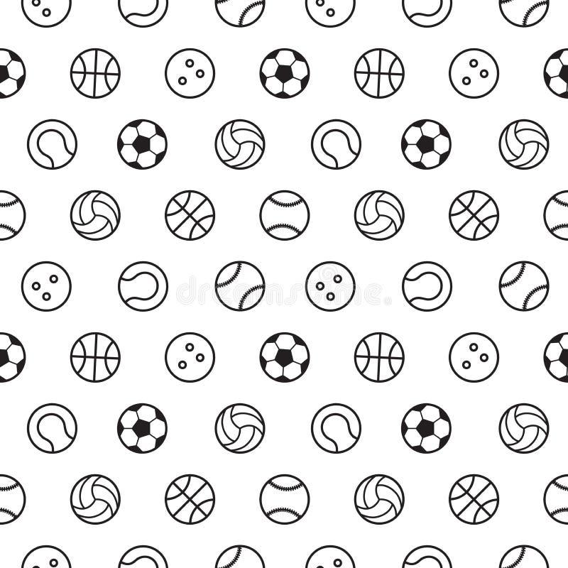 Sömlös modell för sportbollöversikt vektor illustrationer