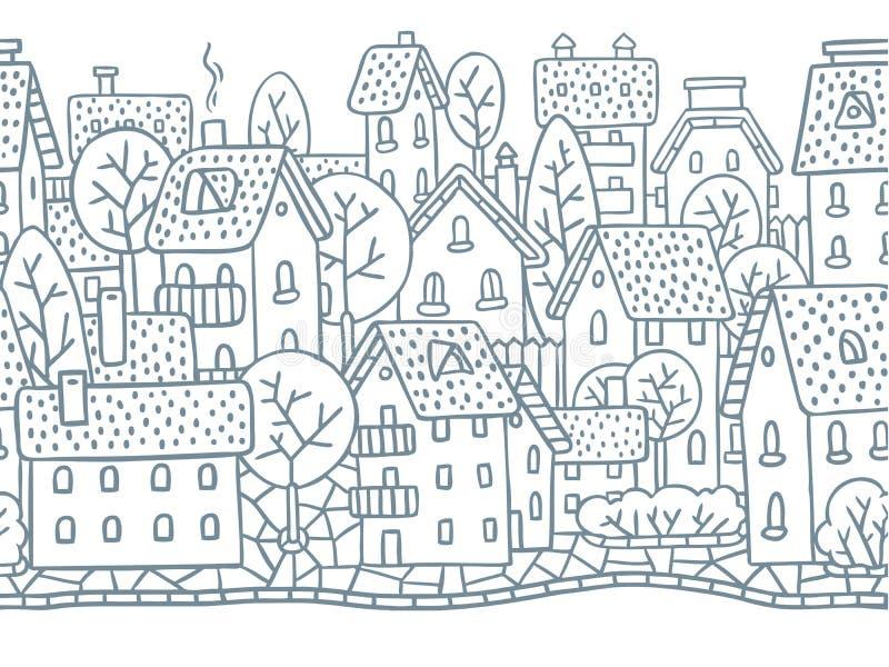 Sömlös modell för stad horisontellt med tak royaltyfri illustrationer