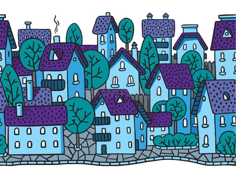 Sömlös modell för stad horisontellt med tak stock illustrationer