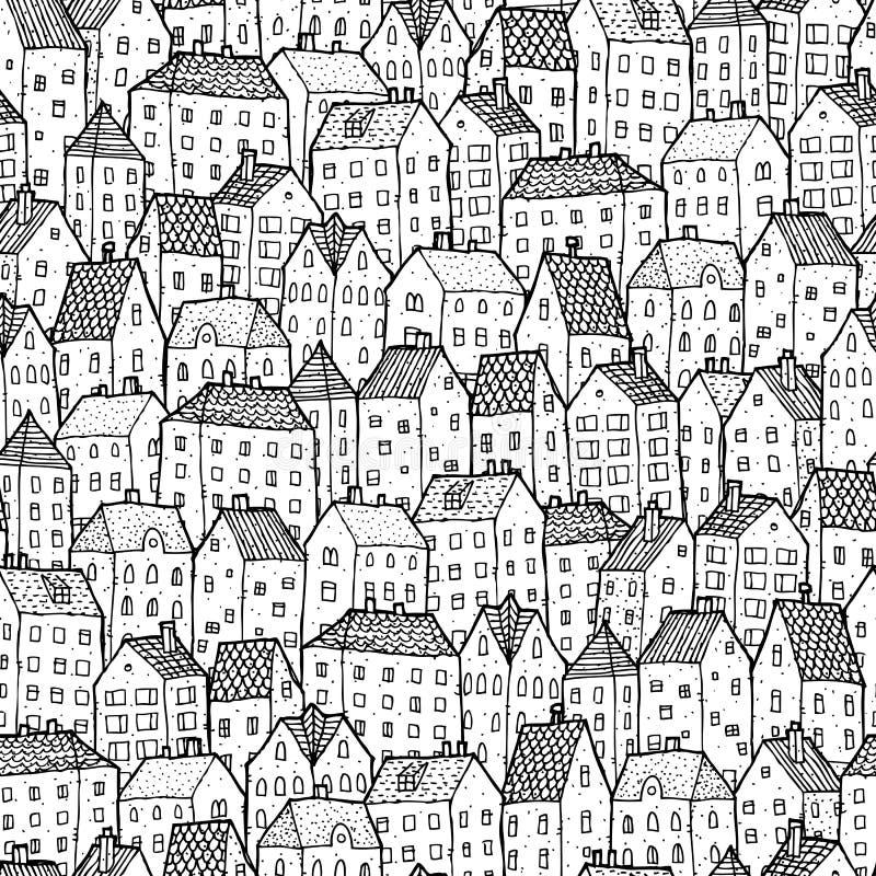 Sömlös modell för stad i baksida och vit royaltyfri illustrationer