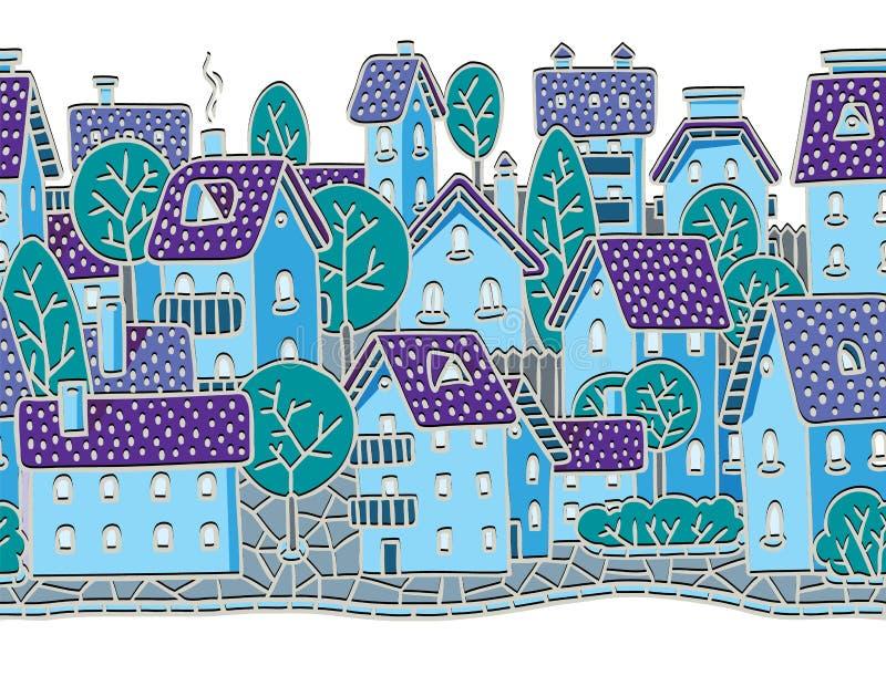 Sömlös modell för stad med hus och tak vektor illustrationer