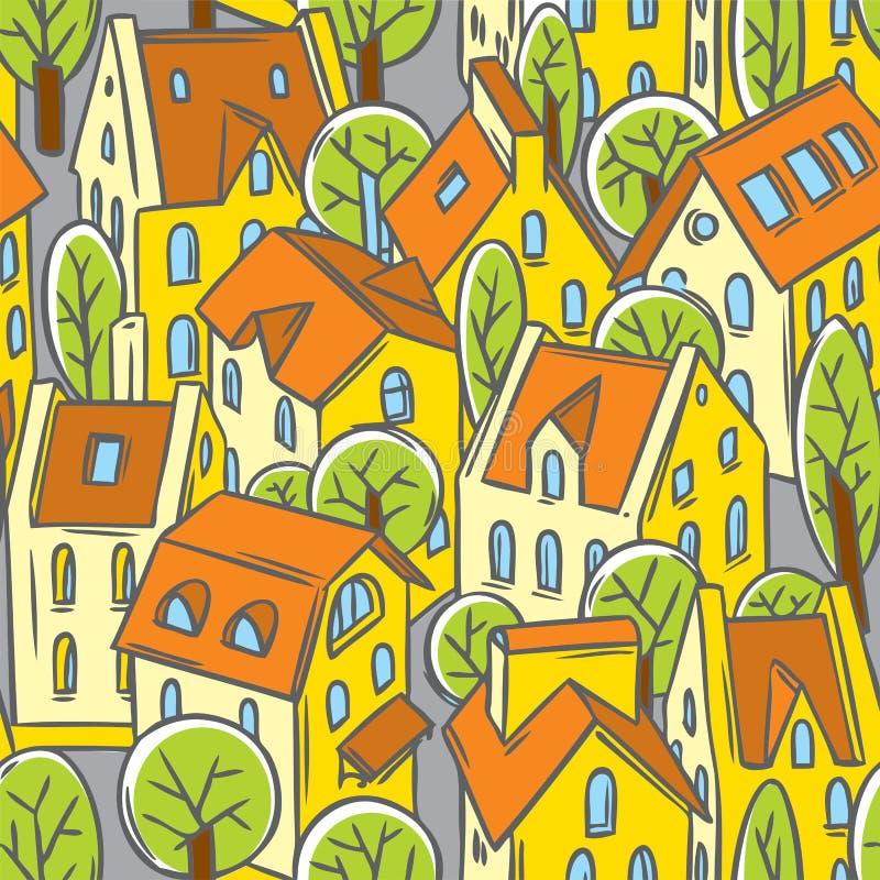 Sömlös modell för stad med tak royaltyfri illustrationer