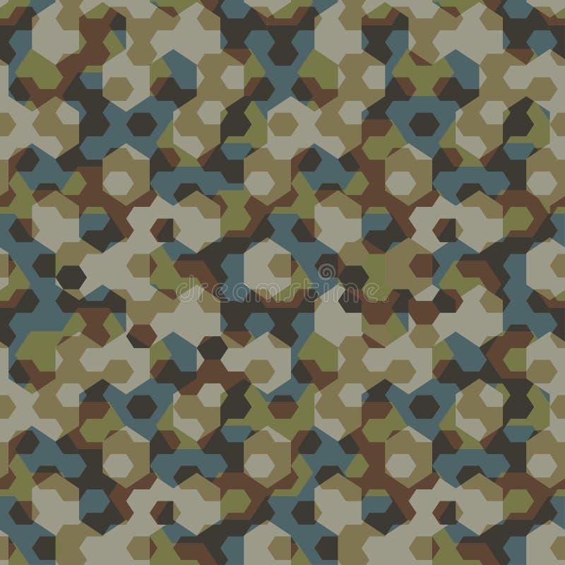 Sömlös modell för stads- sexhörning för kamouflage geometrisk vektor illustrationer
